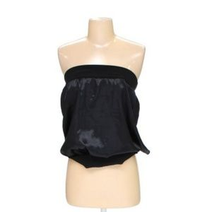 Black Tube Top with Open Back Tie Size M